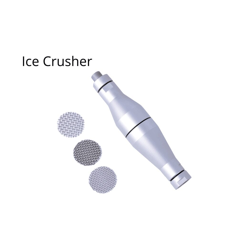 Ice Crusher with three different matrices for dry ice blasters
