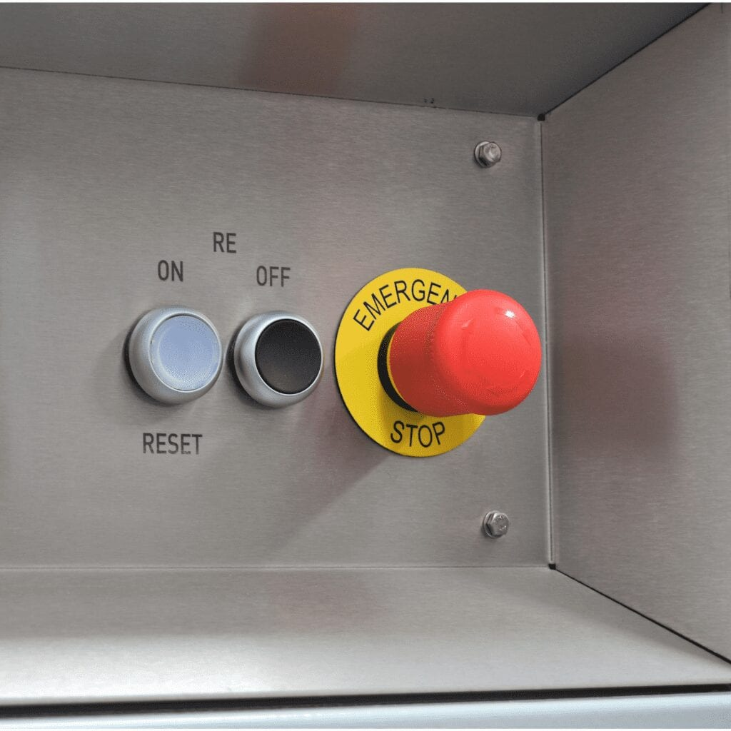 On-off button of a Co2 Gas Recovery Unit from Aquila Triventek.